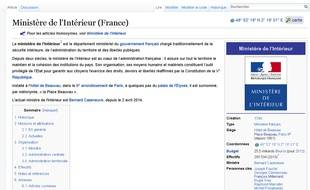 Page Wikipédia du ministère de l'Intérieur.