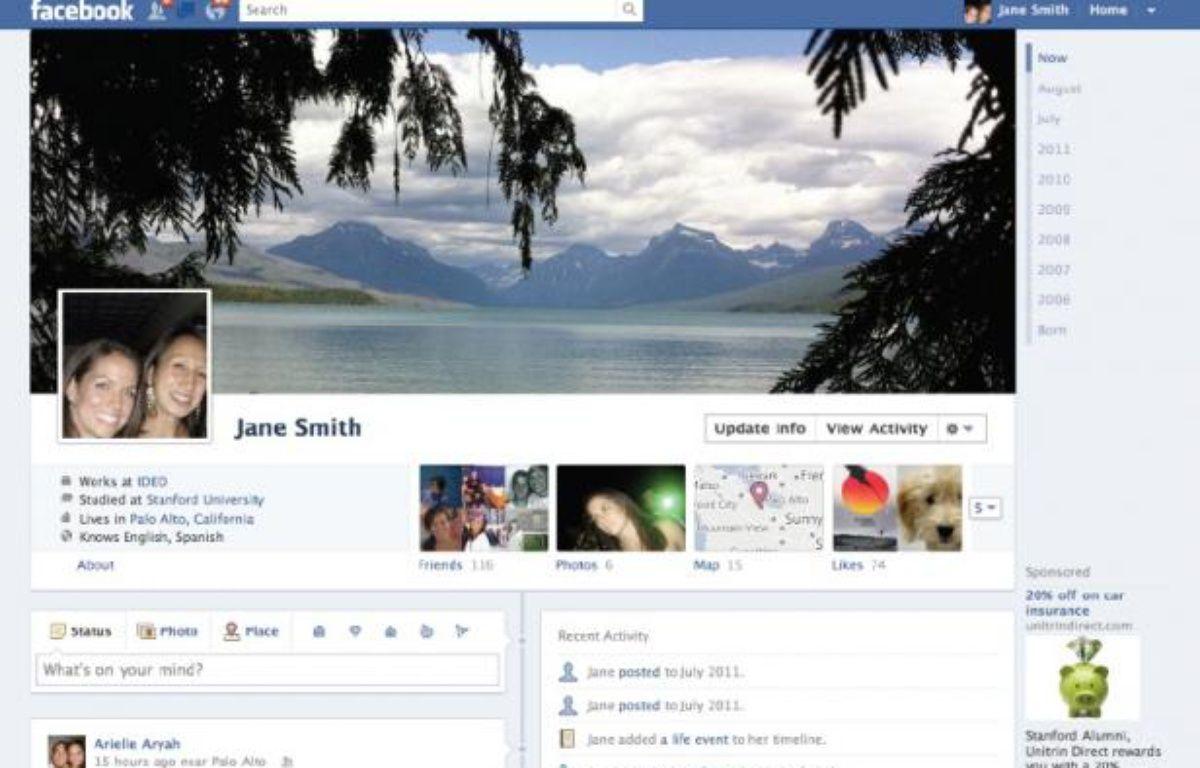 La page «Timeline» du nouveau profil Facebook, dévoilé le 22 septembre 2011 par Mark Zuckerberg. – FACEBOOK