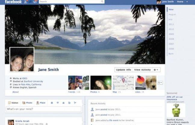 La page «Timeline» du nouveau profil Facebook, dévoilé le 22 septembre 2011 par Mark Zuckerberg.