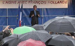 François Hollande en meeting àHirson, dans l'Aisne, le 24 avril 2012.