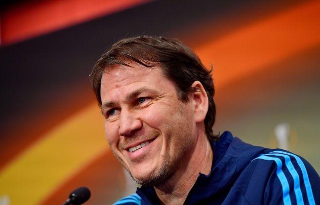Rudi Garcia est volontiers blagueur en conférence de presse, comme ici avant RB Leipzig-OM en avril 2018. John MACDOUGALL