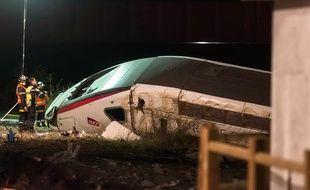 Strasbourg le 14 novembre 2015. Accident d'une rame de TGV  à hauteur du village d'Eckwersheim.près  de Strasbourg.