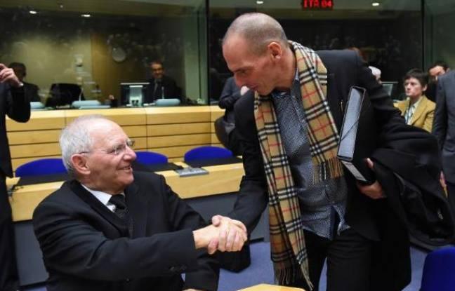 Les ministres allemand Wolfgang Schauble et grec Yanis Varoufakis le 11 février 2015 à Bruxelles