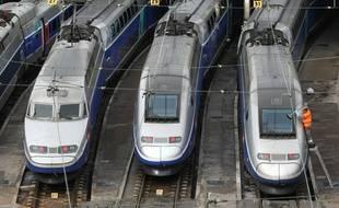 Illustration de TGV, stationnés à la gare de Bercy à Paris le 07 octobre 2008.