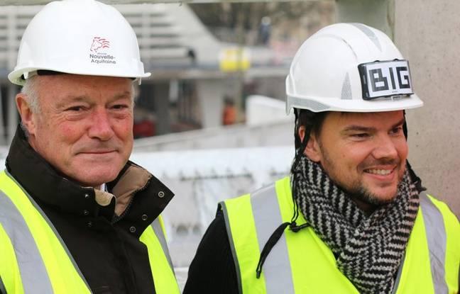 Alain Rousset et l'architecte de l'agence BIG Bjarke Ingels, en charge du projet de la Meca