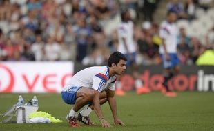 Clément Grenier à l'échauffement avant un match de Ligue Europa contre l'Astra Giurgiu, le 21 août 2014.