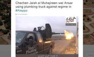 Tweet de Caleb Weiss montrant le pick-up d'un plombier texan conduit par des djihadistes syriens.