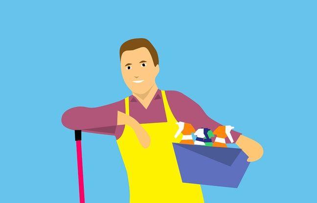 Illustration d'un individu avec des produits ménagers et un balai