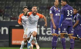 L'attaquant de Montpellier Andy Delort, buteur face au TFC, le club auquel il appartient toujours.