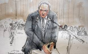 Un dessin illustrant Dominique Strauss-Kahn, à la barre pendant le procès du Carlton, à Lille, le 10 février 2015.