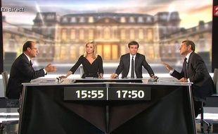 Capture d'écran du débat Hollande-Sarkozy, le 3 mai 2012.