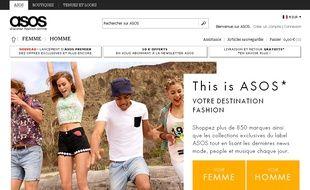 Capture d'écran du site ASOS.