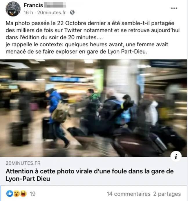 L'auteur d'une photo devenue virale et montrant une foule démesurée à la gare de Lyon Part-Dieu a recontextualisé son cliché pour « rétablir la vérité ».