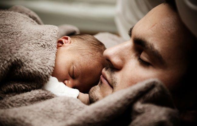 Illustration d'un père avec son bébé.