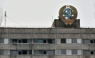 Un immeuble à Pripyat près de Tchernobyl le 22 janvier 2016