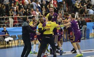Le HBC Nantes à Bucarest en Ligue des champions en octobre 2016.