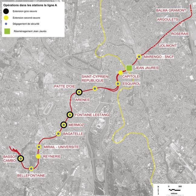 Plan des travaux nécessaires au doublement de capacité de la ligne A.