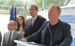 Marseille, le 15 janvier 2015, Patric Rue de Force Ouvriere presente ses voeux au president de MP Guy Teissier.