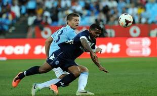 Kermit Erasmus, ici lors d'un match amical contre Manchester City en juillet 2013, est le premier joueur sud-africain de l'histoire du Stade Rennais.
