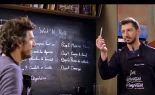 Monsieur Poulpe propose un joint à Guillaume Canet dans un épisode des Recettes Pompettes.