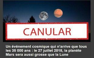 Ce canular au sujet de la planète Mars circule depuis 2003.