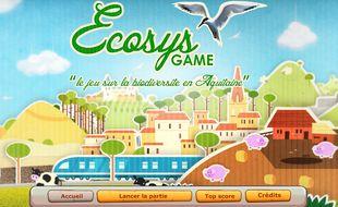 Page d'accueil du jeu vidéo Ecosysgame