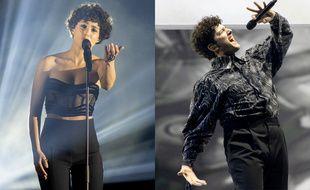 La Française Barbara Pravi et le Suisse Gjon's Tears sur la scène de l'Eurovision à Rotterdam (Pays-Bas), lors de leurs répétitions, respectivement le 15 et le 14 mai 2021.