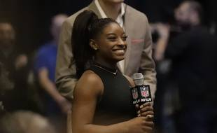 La championne olympique de gymnastique Simone Biles lors du Super Bowl, le 5e février 2017.
