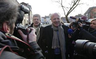 Lille, le 2 fevrier 2015. Ouverture du proces pour proxenetisme aggrave, affaire dite du carlton de Lille devant le tribunal correctionnel. Ici le charge de relations publiques Rene Kojfer arrive au tribunal en compagnie de son avocat, maitre Hubert Delarue.