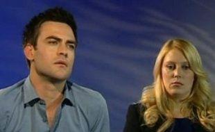 Michael Christian et Mel Greig, les animateurs radio australiens qui ont réussi à obtenir des informations sur l'état de santé de Kate Middleton par le biais d'un canular. Le 10 décembre 2012.