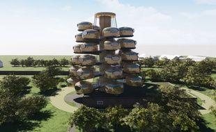 Image du futur hôtel du Château des Pères, inspiré de la structure d'un arbre avec ses branches portant les chambres suspendues.