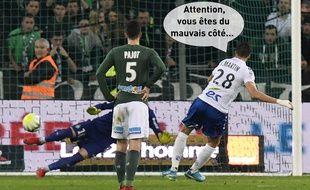 Le milieu strasbourgeois Jonas Martin face au portier stéphanois Stéphane Ruffier à Geoffroy Guichard fin novembre.