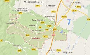 Bergheim. Google Maps. Capture d'écran.