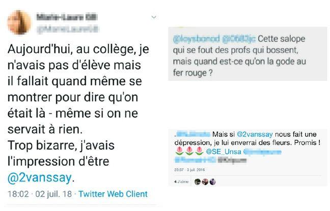 Exemples de tweets envoyés à Stéphanie de Vanssay.