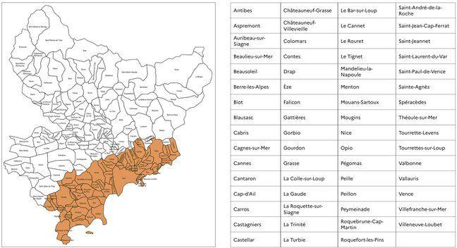 La carte et la liste des communes concernées