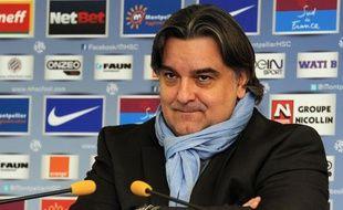 Laurent Nicollin, dirigeant du MHSC, lors de l'annonce du départ de Jean Fernandez, le 5 décembre 2013 à Montpellier.