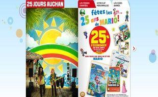 Le site internet d'Auchan où les promotions sont chantées