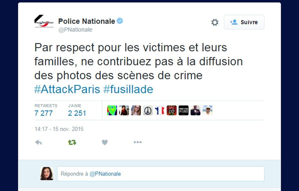 Message posté par la Police nationale le 15 novembre 2015 sur Twitter après les attentats de Paris. – Capture d'écran / 20 Minutes