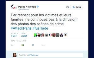 Message posté par la Police nationale le 15 novembre 2015 sur Twitter après les attentats de Paris.