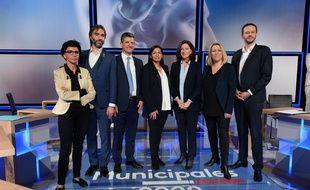 Deuxième débat entre les sept candidats à la mairie de Paris, le 10 mars 2020.