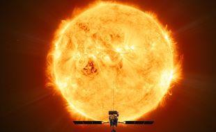 La sonde Solar Orbiter, face au Soleil.