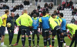 Le groupe nantais avant le match de Reims, samedi dernier.