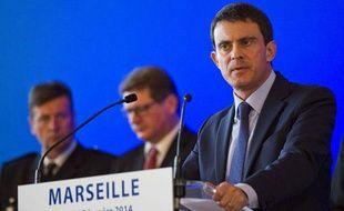 Manuel Valls, le ministre de l'Intérieur, lors de son discours à Marseille, le 27 janvier.