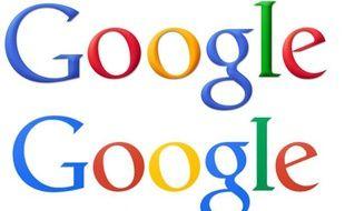Photomontage: L'ancien logo de Google remplacé par le nouveau (en dessous) le 20 septembre 2013.