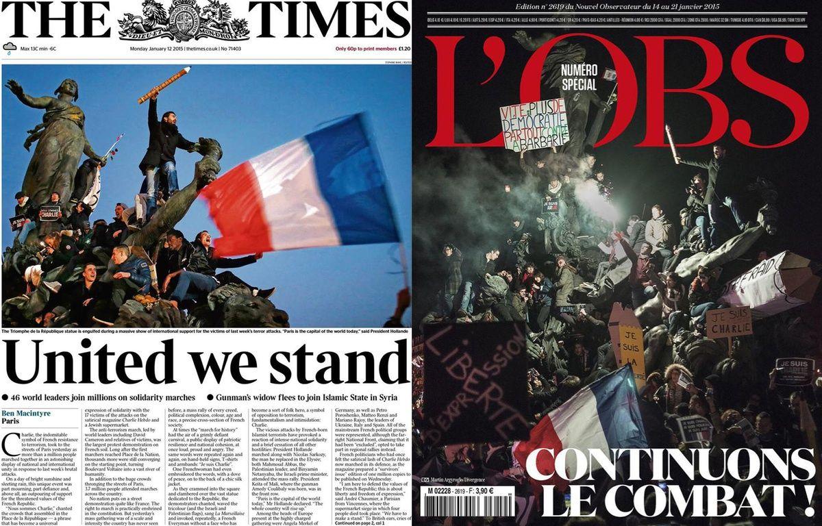 La couverture du Times le lundi 12 janvier et celle de L'Obs, le 14 janvier 2015. – Reuters / Mahé / Argyroglo