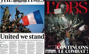 La couverture du Times le lundi 12 janvier et celle de L'Obs, le 14 janvier 2015.
