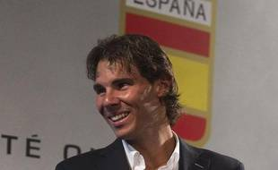 Le tennisman Rafael Nadal, lors de sa remise de drapeau, le 14 juillet 2012 àMadrid.