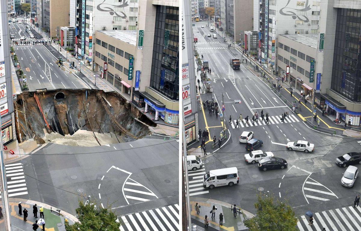 Avant/Après. L'avenue de Fukuoka (sud du Japon) qui s'était subitement effondrée photographiée le 8, puis le 15 novembre 2016. – AP/SIPA