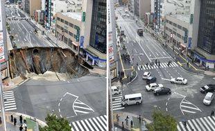 Avant/Après. L'avenue de Fukuoka (sud du Japon) qui s'était subitement effondrée photographiée le 8, puis le 15 novembre 2016.