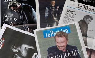 Des unes de journaux au lendemain de la mort de Johnny Hallyday, le 7 décembre 2017.